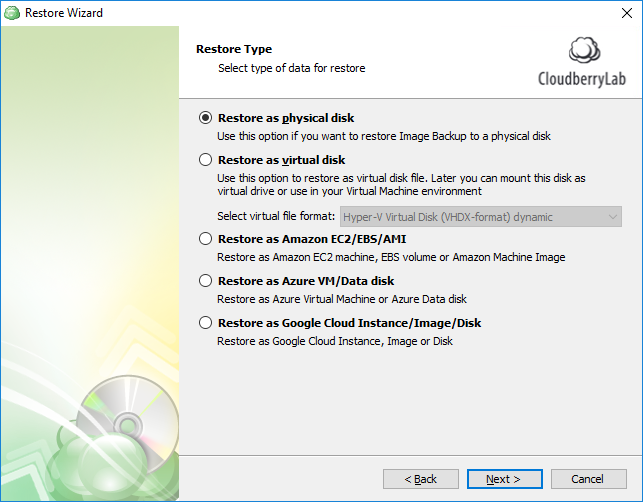 Restore from Image-Based Backup: Specifying the restore destination