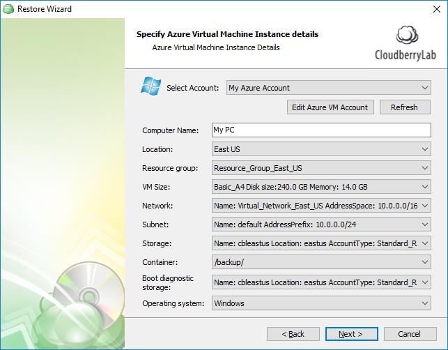 Disk Image Restore to Azure Virtual Machine   Help Center