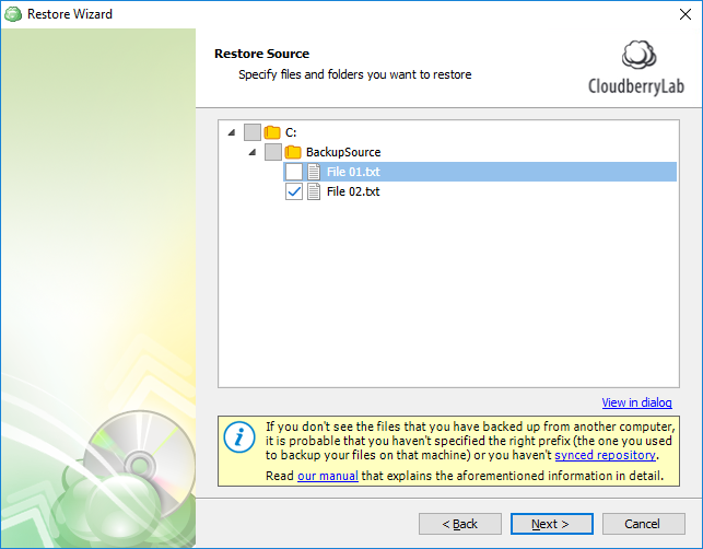 Select Files for File-Level Restore   Help Center